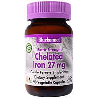 Bluebonnet Nutrition, Дополнительная сила хелатированного железа, 27 мг, 90 вегетарианских капсул, BLB-00670