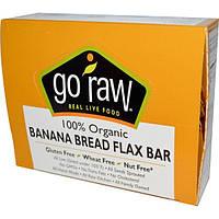 Go Raw, Органические банановые батончики с семенами льна, 10 батончиков, 12 г каждый, GOR-00066