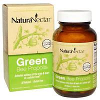 NaturaNectar, Абсолютно натуральный зеленый пчелиный прополис , 60 вегетарианских капсул, NNR-32654