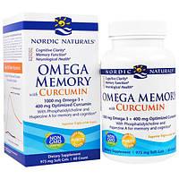 """Nordic Naturals, """"Омега-память"""", пищевая добавка с омега-3 и куркумином, 975 мг, 60 мягких желатиновых капсул с жидкостью, NOR-01878"""