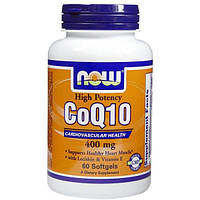Now Foods, КоQ10, Высокая эффективность, Сердечно-сосудистые заболевания, 400 мг, 60 капсул, NOW-03198