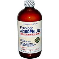 American Health, Пробиотик Ацидофилус, Обычный Вкус 16 жидких унции (472 мл), AMH-00870