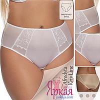 Трусы женские Kris Line™. Трусики-слипы миди белые с вышивкой. Польское нижнее белье больших размеров.