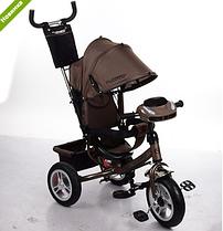 Велосипед трехколесныйM 3115HA-13 шоколадный фара+надувные колеса