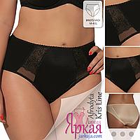 Трусы женские Kris Line™. Трусики-слипы миди черные с вышивкой. Польское нижнее белье больших размеров.