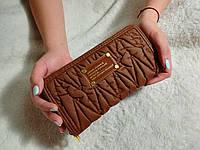 Великий жіночий гаманець Mark Jacobs ( копия ) коричневий + ремінь на руку