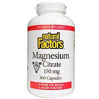 Natural Factors, Цитрат магния, 360 капсул, NFS-01655