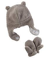 Теплая шапка + варежки Carters. 12 - 24 месяцев