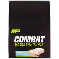 """MusclePharm, """"Битва"""", хрустящие белковые батончики со вкусом торта ко дню рождения, 12 батончиков по 2,22 унции (63 г), MSF-10547"""
