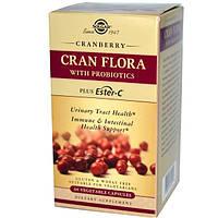 Solgar, Cran Flora,с пробиотиками, 60 растительных капсул, SOL-31405