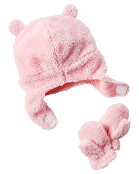 Теплая шапка + варежки Carters для девочки 12 - 24 месяцев