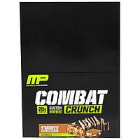 """MusclePharm, """"Битва"""", хрустящие белковые батончики со вкусом смора, 12 батончиков по 2,22 унции (63 г), MSF-41671"""