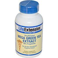 Life Extension, Мега экстракт зеленого чая  без кофеина , 100 вегетарианских капсул, LEX-95410