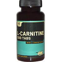 Optimum Nutrition, L-карнитин, 500 мг, 60 таблеток, OPN-02191