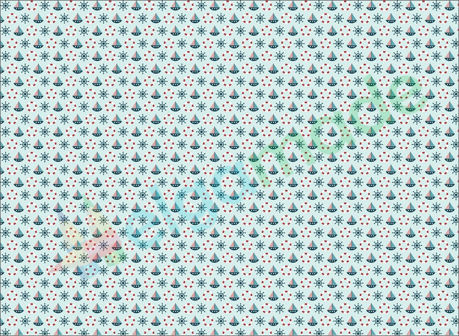 Фетр с принтом МОРСКОЙ, 22x30 см, корейский мягкий 1.2 мм