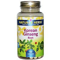 Nature's Herbs, Корень корейского женьшеня, 50 капсул, NHB-87076