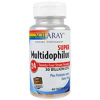 Solaray, Super Multidophilus, 30 миллиардов КОЕ, 60 вегетарианских капсул с покрытием, SOR-90578