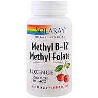 Solaray, Метил B-12 метил-фолат, Вишневый вкус, 60 пастилок, SOR-68520