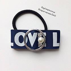 "Резинка  ""Love"" для волос. синяя"