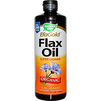 Nature's Way, EFAGold, Органическое льняное масло, с лигнином, 24 жидких унций (710 мл), NWY-15429