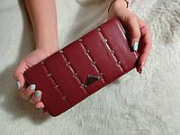 Женский большой кошелек  бордовый, со стразами, фото 1