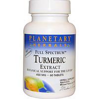 Planetary Herbals, Экстракт куркумы полного спектра, 450 мг, 60 таблеток, PTF-10398
