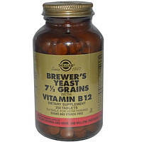 Solgar, Пивные дрожжи, зерна 7 1/2, с витамином В12, 250 таблеток, SOL-00400