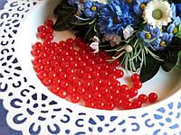Бусины красные 0.6 см. Вес упаковки 10 гр - 92 шт, фото 1