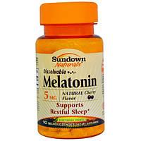 Sundown Naturals, Мелатонин, растворимый, 5 мг, 90 микропастилок, SDN-52816