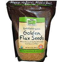 Now Foods, Real Food, Семена сертифицированного органического белого льна, 907 г, NOW-06276