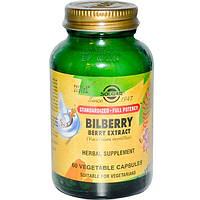 Solgar, Экстракт ягоды черники, 60 капсул на растительной основе, SOL-04110