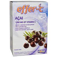 Now Foods, Effer-C, Смесь для приготовления шипучего напитка со вкусом асаи, 30 пакетов, 5,82 унции (165 г) (Discontinued Item), NOW-00615