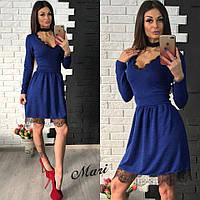 Женское платье с пышным низом М, электрик