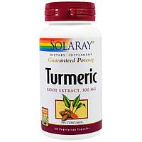 Solaray, Экстракт из корня куркумы, 300 мг, 60 вегетарианских капсул, SOR-03800