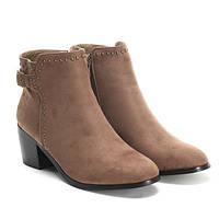 Женские демисезонные ботильоны, ботинки коричневые на каблучке