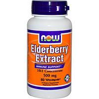 Now Foods, Экстракт бузины, 500 мг , 60 вегетарианских капсул, NOW-04667