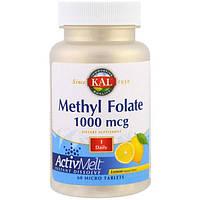 KAL, Метил фолат, лимон, 1000 мкг, 60 микротаблеток, CAL-33266