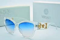 Солнцезащитные женские очки Versace кошачий глаз синие с прозрачным