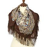 Нежный вечер 1195-16, павлопосадский платок шерстяной с шерстяной бахромой, фото 2