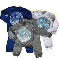 Детская теплая пижама для мальчика рост 110-122