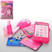 Детский набор аксессуаров 84143AB,  2 вида, телефон, брелок, аксессуары, на бат, на листе,18,5-28-3см