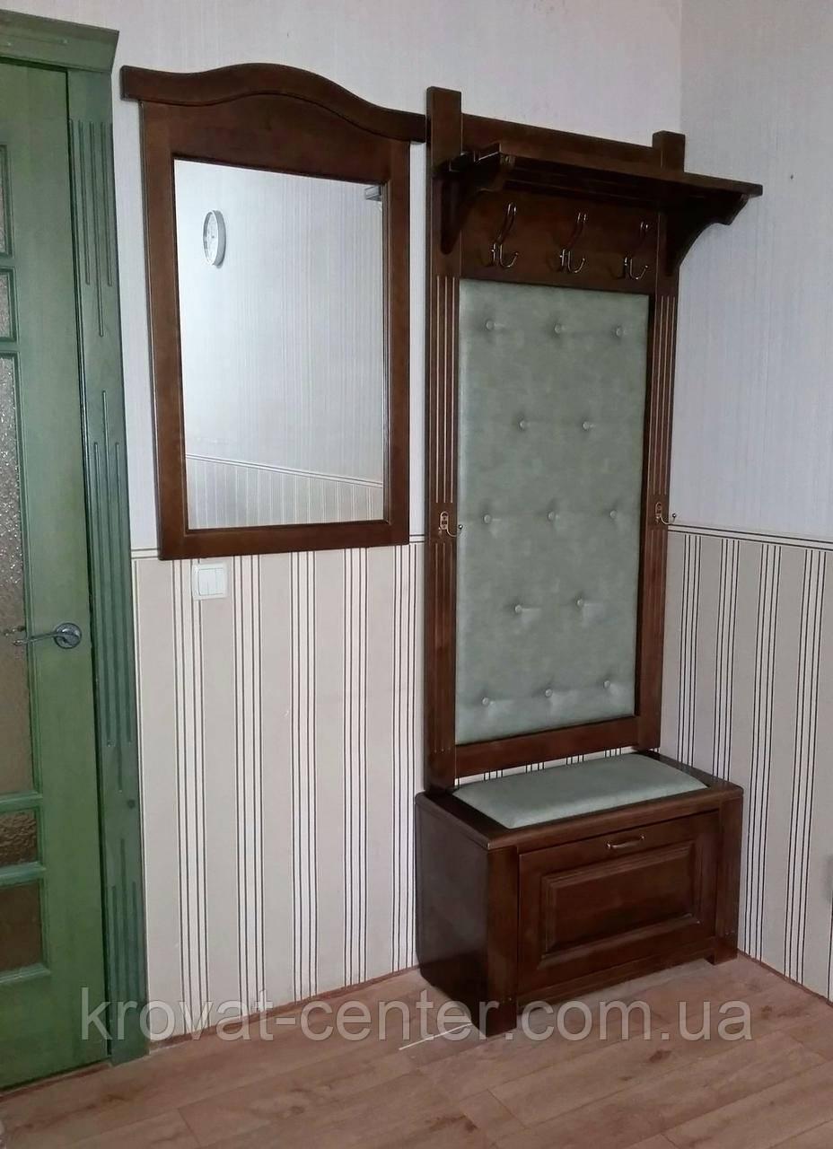 """Прихожая с банкеткой и зеркалом. Массив дерева - ольха. Покрытие - """"лесной орех""""  - Творческая мастерская """"КРОВАТЬ центр"""" - деревянная мебель от Производителя. Индивидуальный подход. в Северодонецке"""
