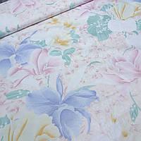 Тик для наперников с крупными голубыми и розовыми цветами, ширина 220 см, фото 1