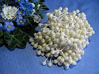 Тычинки сахарные шарики. Цвет белый. 50 ниток - 100 головок