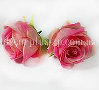 Головка розы 6см ткань. Розовая