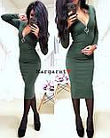 Женское стильное платье-миди с молнией из рибаны (4 цвета), фото 3