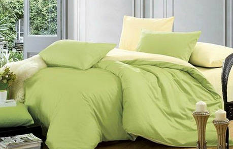 Постельное белье Сатин однотонный микс №17+№060 ТМ Комфорт-текстиль (Евро), фото 2