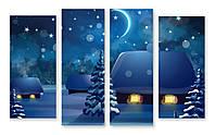 Модульная картина домики в снегу