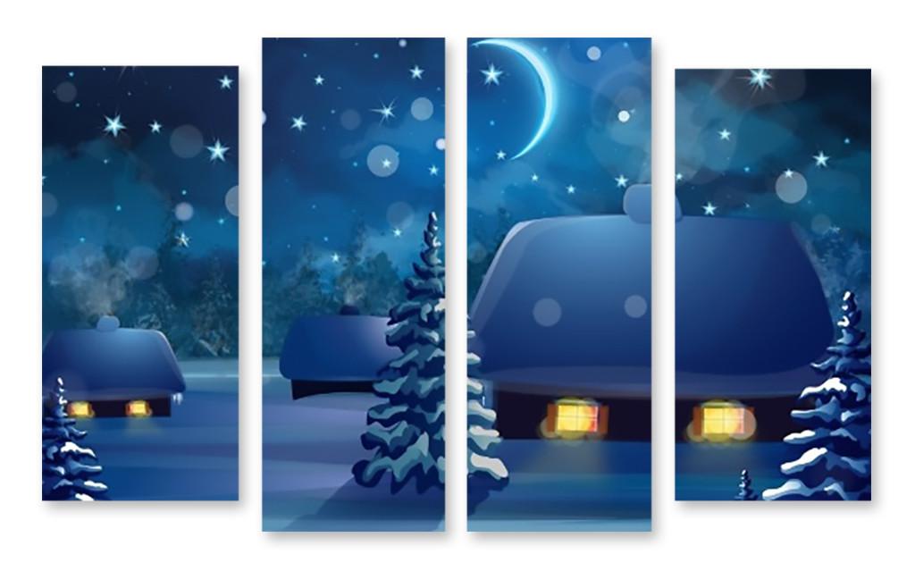 Модульная картина домики в снегу - Принт Маркет в Днепре