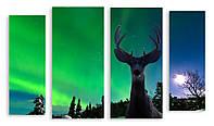 Модульная картина северное сияние и олень